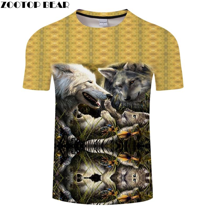 Flower Wolf tshirts 3D t shirt Men Women t-shirt Anime Camiseta Streatwear Tee Harajuku Top Short Sleeve Drop Ship ZOOTOPBEAR