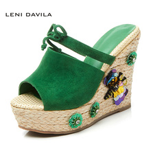 LENI DAVILA 2017 Fashion Summer Women's Kid Suede Wedges heels Sexy sandals handmade decorations Outdoor slippers for girls