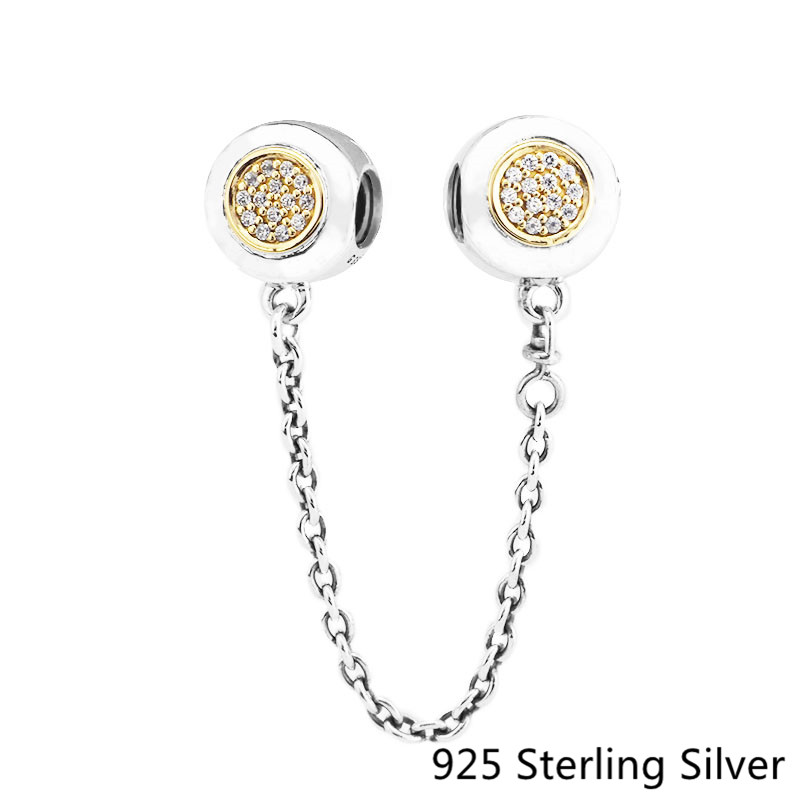 Circle Safety Chain Charm Authentic 925 Sterling-Silver DIY Beads Wonder Charms Fit Exotic Bracelets for Women Fine Jewelry Gift 2018 summer new moments black leather hand chain bracelets fit 925 sterling silver jewelry charms beads diy for women br066