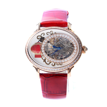 Seagull Classic Oval Shape Elegant Rhinestones Lantern Pattern Gold Tone Women Hand Wind Mechanical Watch 739.759L