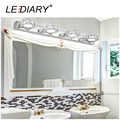 LEDIARY Round Crystal Mirror Lamp 3W/6W/9W/12W Champagne/White Waterproof LED Wall Light 100-240V Bathroom Lamp Stainless Steel