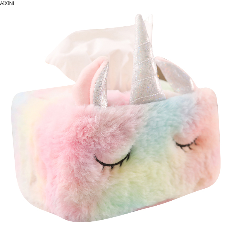 Kawaii Unicorn Plush Stuffed Soft Doll Lovely Animal Horse Cushions Tissue Pumping Paper Storage for Children Birthday Gifts Toy