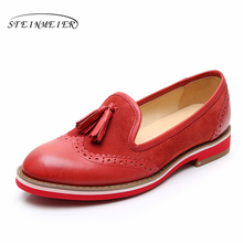 Yinzo Women Genuine Leather Flats Oxford Shoes Woman Sneakers Lady Brogues Vintage Casual For 2019 red green
