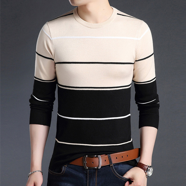 Casual Men winter O-Neck Striped pullover Sweaters 1
