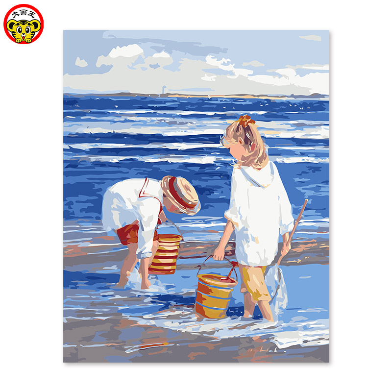 painting by numbers art paint by number propene pigment blue seaside children playing on the beachpainting by numbers art paint by number propene pigment blue seaside children playing on the beach