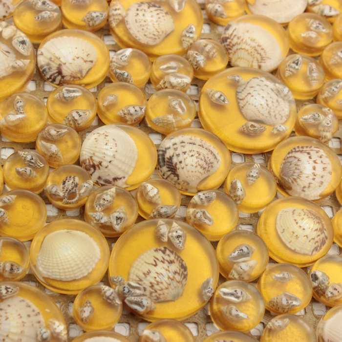 YELLOW COLOR round glass natural shell mosaic mesh backing for bathroom wall tiles shower <font><b>kitchen</b></font> backsplash mediterranean sea