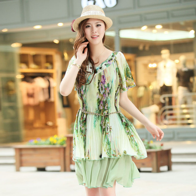 Free shipping 2013 summer print with sashes asymmetrical loose-waisted women's casual dress 3 colors 718