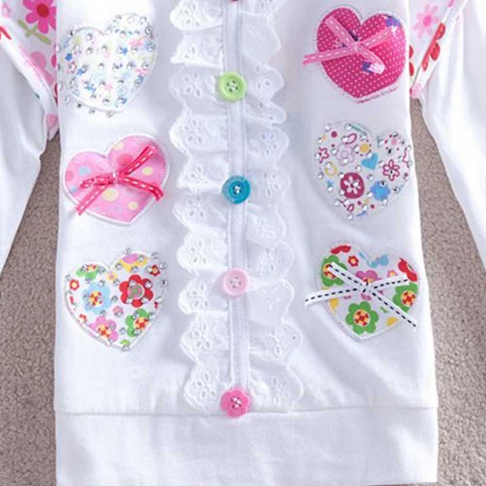JUXINSU Kızlar pamuklu uzun kollutişört T-shirt Çiçek Dantel Sonbahar Kış Kız için Rahat tshirt Bebek Kız 1-8 Yıl Elbise