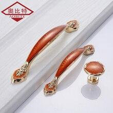 AOBT Furniture Handles Door Handle Red Amber Gold Plating 128mm Shoe Cabinet Minimalist Drawer Knobs Hardware 373