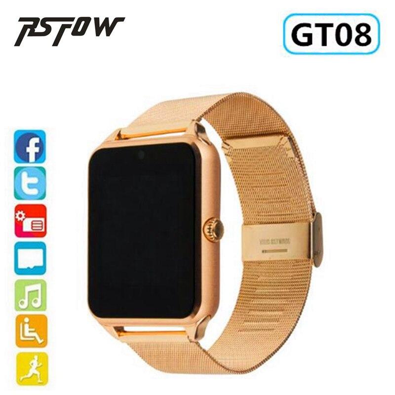 RsFow Smart Uhr GT08 Plus Metall Strap Bluetooth Handgelenk Smartwatch Unterstützung Sim TF Karte Android & IOS Uhr Multi- sprachen PK dz09