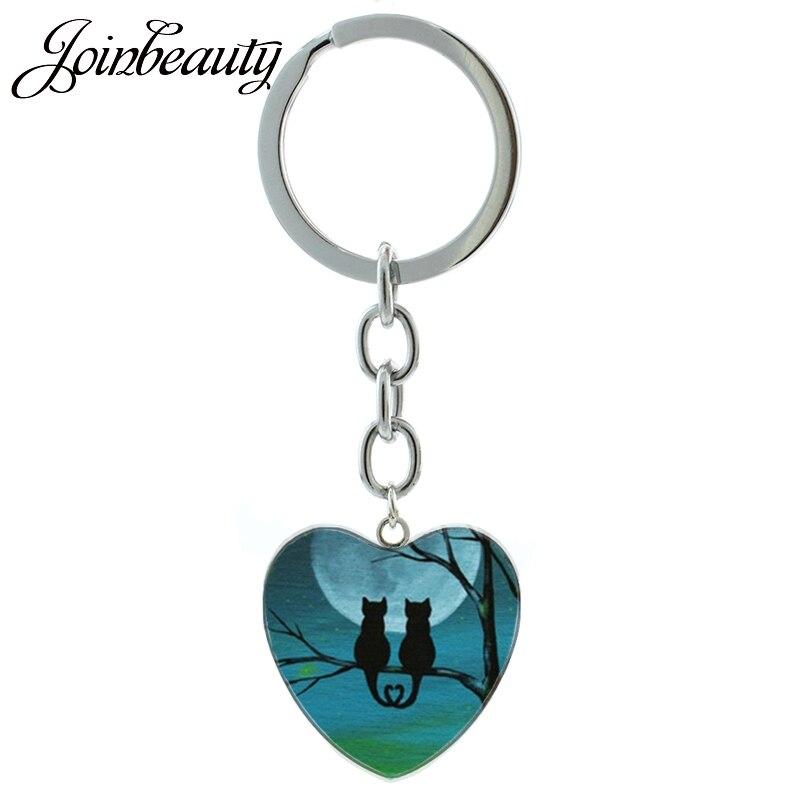 JOINBEAUTY  Quiet Night Moon Black Cat Keychain Novelty Animals Sand Cat Hallowen Bat Raven Pendant Keychain Ring Jewelry HP273
