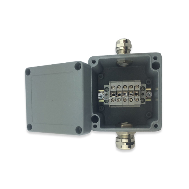 IP65 Waterproof Cable Wiring Aluminum Junction Box 1 inlet 1 outlet 80*76*57mm with UK2.5B Din Rail Terminal Blocks