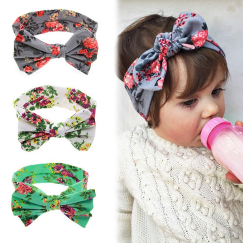 New Newborn Flowers Print Floral Butterfly Bow Hairband Turban Knot for Women Girls Headband Hair Band Accessories 1 pc women fashion elastic stretch plain rabbit bow style hair band headband turban hairband hair accessories
