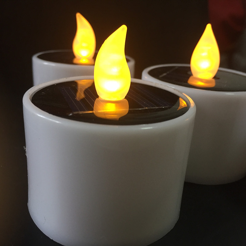 6pcs Solar Powered Led Electronic Tealight Flickering Flameless