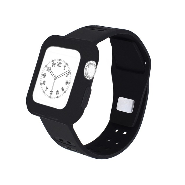 Us 3 39 32 Off Bemorcabo Silicone Shockproof Rugged Watch Band With Protective Case For Le Series 2 1 Sport Wristband 38mm 42mm In