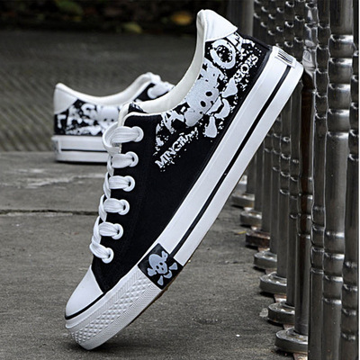 2018 new fashion skull men flat bottom with canvas shoes Oxford shoes casual shoes e lov women casual walking shoes graffiti aries horoscope canvas shoe low top flat oxford shoes for couples lovers