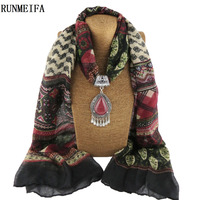 RUNMEIFA Women Fashion Charms Scarf Jewellery Pendant Cachecol Jewelry Scarves Necklace Scarfs Warm Alloy Necklace