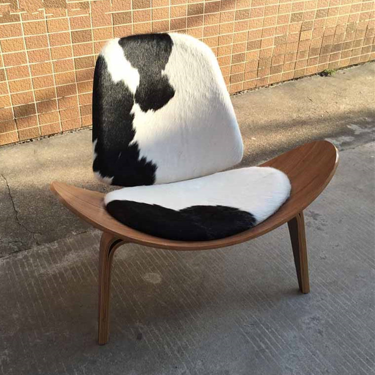 Pleasant Us 569 0 Tripod Plywood Modern Lounge Chair Cowhide Upholstery Living Room Furniture Modern Hans Wegner Leather Shell Chair Design Seat In Living Andrewgaddart Wooden Chair Designs For Living Room Andrewgaddartcom