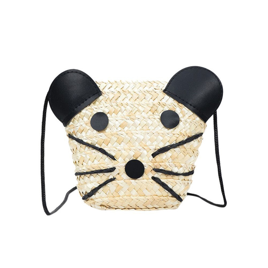 New Arrival Kids Grass Weaving Panda Handbag Straw Zipper Messenger Bag Tote Girls Purse Animal Prints Beach crossbody bags S