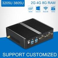 Fanless Cutomized Mini PC 2 LAN HDMI VGA Celeron 3205U 3805U Mini Desktop Computer 2G 4G