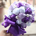 2016 New Bridesmaid Wedding Decoration Satin Flower Rose Bridal bouquet Wonderful Romantic Wedding Bouquet Flower Bride F02