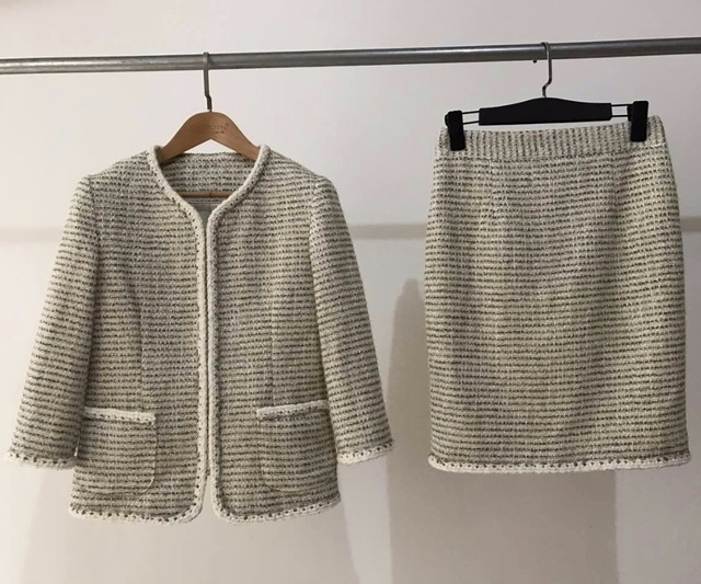 Super de luxe tissu femmes deux pièces ensemble tweed veste et