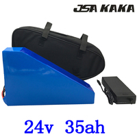 24V Triangle lithium battery 34v 35ah electric bicycle battery 24V 35AH ebike with 30A BMS and 29.4V charger+free bag