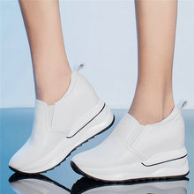 Trainers Shoes Women Cow Leather Wedges Platform Evening Party Pumps Black White High Heel Creepers Walking Oxfords Casual