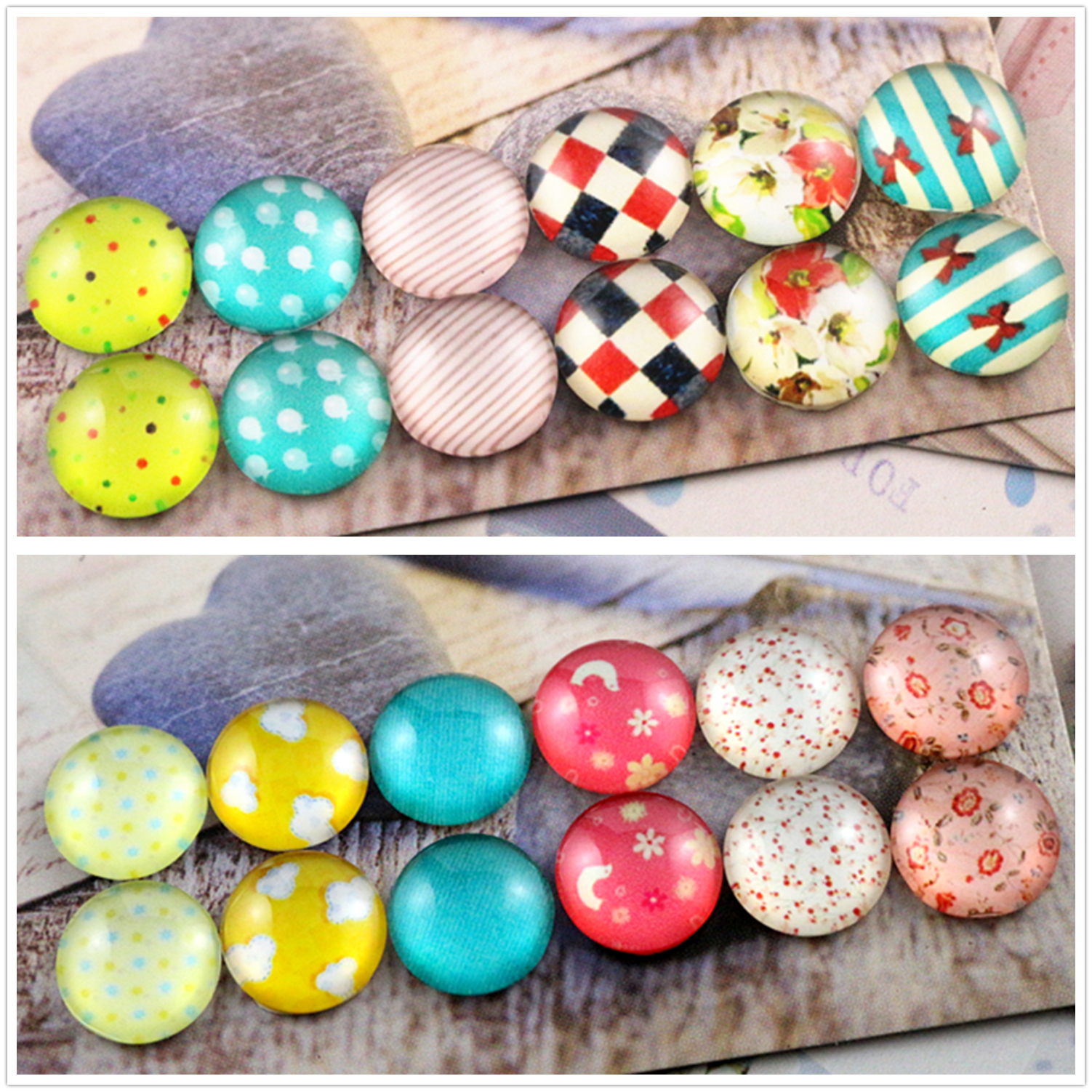 12pcs/ lot (One Set) Two Style 12mm Color flower, wave point Handmade Glass Cabochons Pattern Domed Jewelry Accessories Supplies12pcs/ lot (One Set) Two Style 12mm Color flower, wave point Handmade Glass Cabochons Pattern Domed Jewelry Accessories Supplies