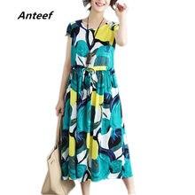 Rosso di cotone di tela più il formato vintage stampa floreale delle donne  allentato casuale lunga estate del vestito elegante a. 4f622ce0b7f