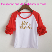 Merry Christmas glitter words T-shirts icing ruffle shirts wholesale icing 3/4 raglans shirts top children Christmas tops