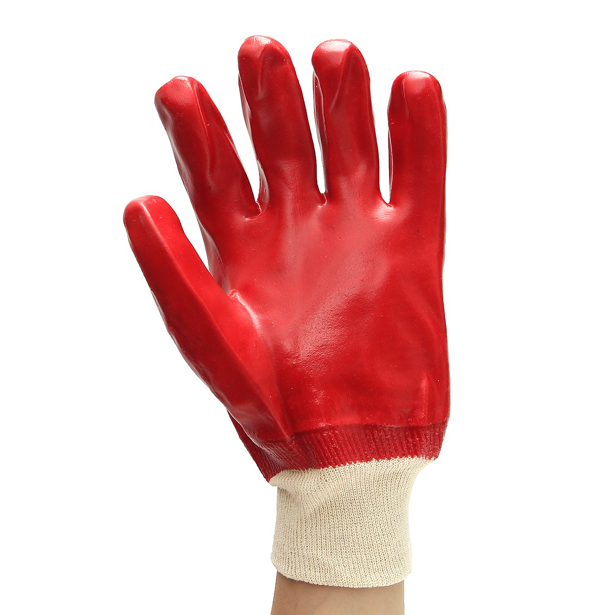 Safurance 12 Pairs PVC Gloves Knitted Wrist Red Chemical Safety Anti skid Waterproof Workplace Safety Hand Protection simplicity wholesale 2pr set knitted touchscreen gloves