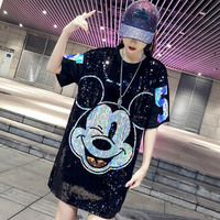 2019 Cartoon sequins loose T Shirt Oversized sexy summer tops Spring Female Shirt Plus Size Tshirts Woman Tops Feminine