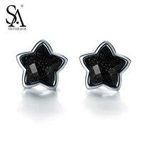 SA SILVERAGE Real 925 Sterling Silver Star Stud Earrings
