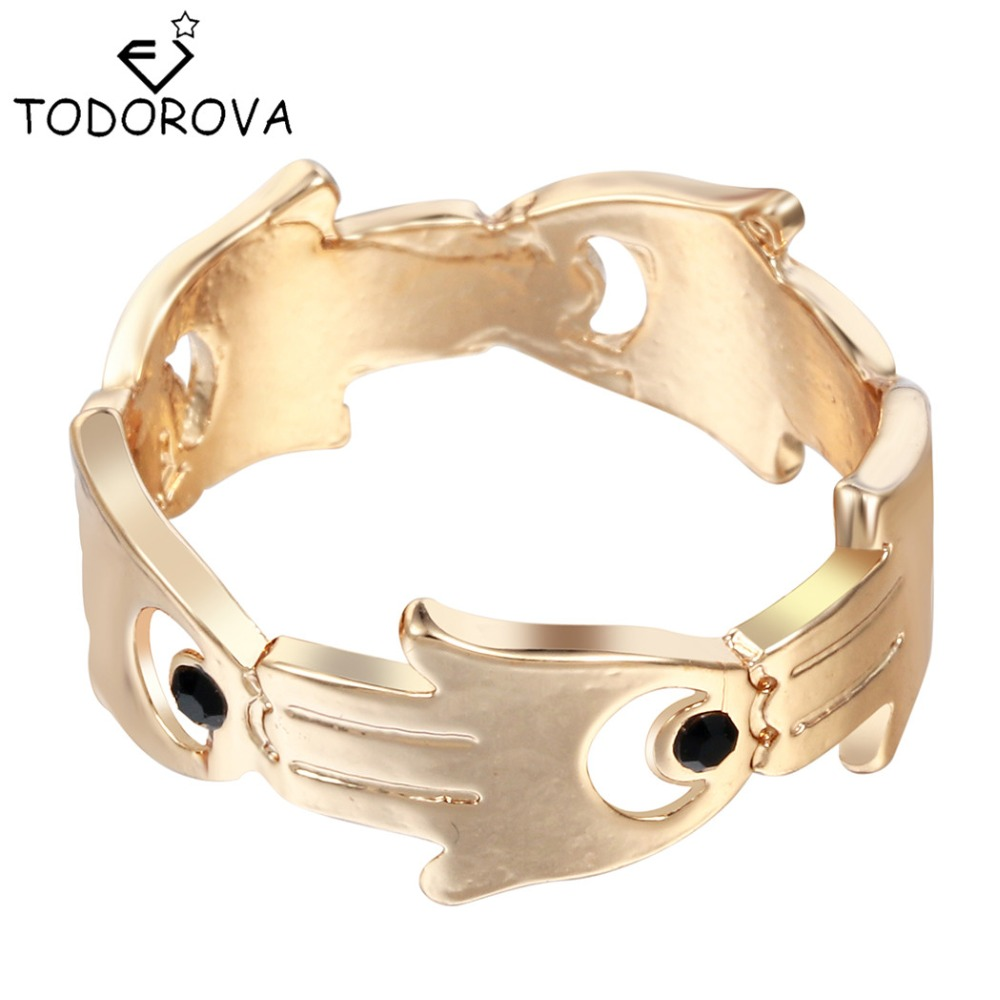 Todorova Hand Of Fatima Hamsa With Evil Eye Rings Wedding Bands Engagement  Rings For Women Cheap Items Steampunk Accessories