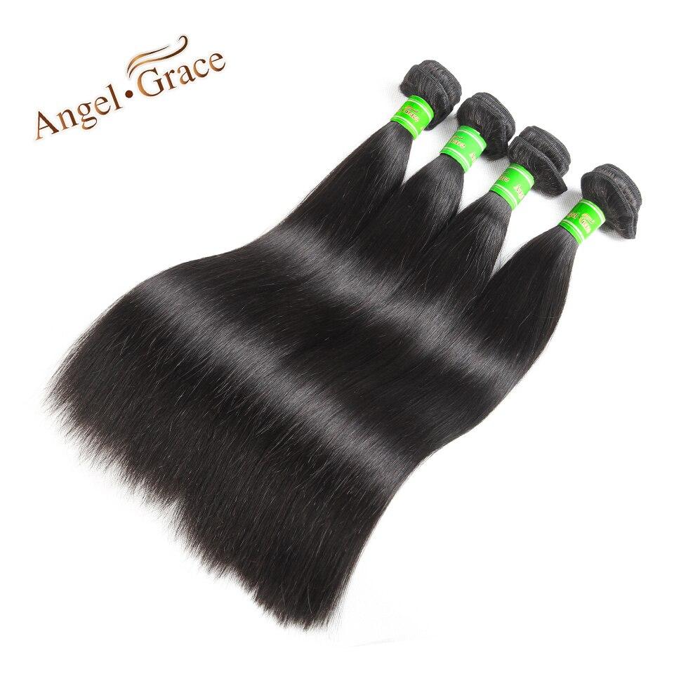 Малайзии прямые волосы 4 шт. Ангел благодати человеческих волос 10-28 дюймов натуральный Цвет пучки волос плетение Бесплатная доставка