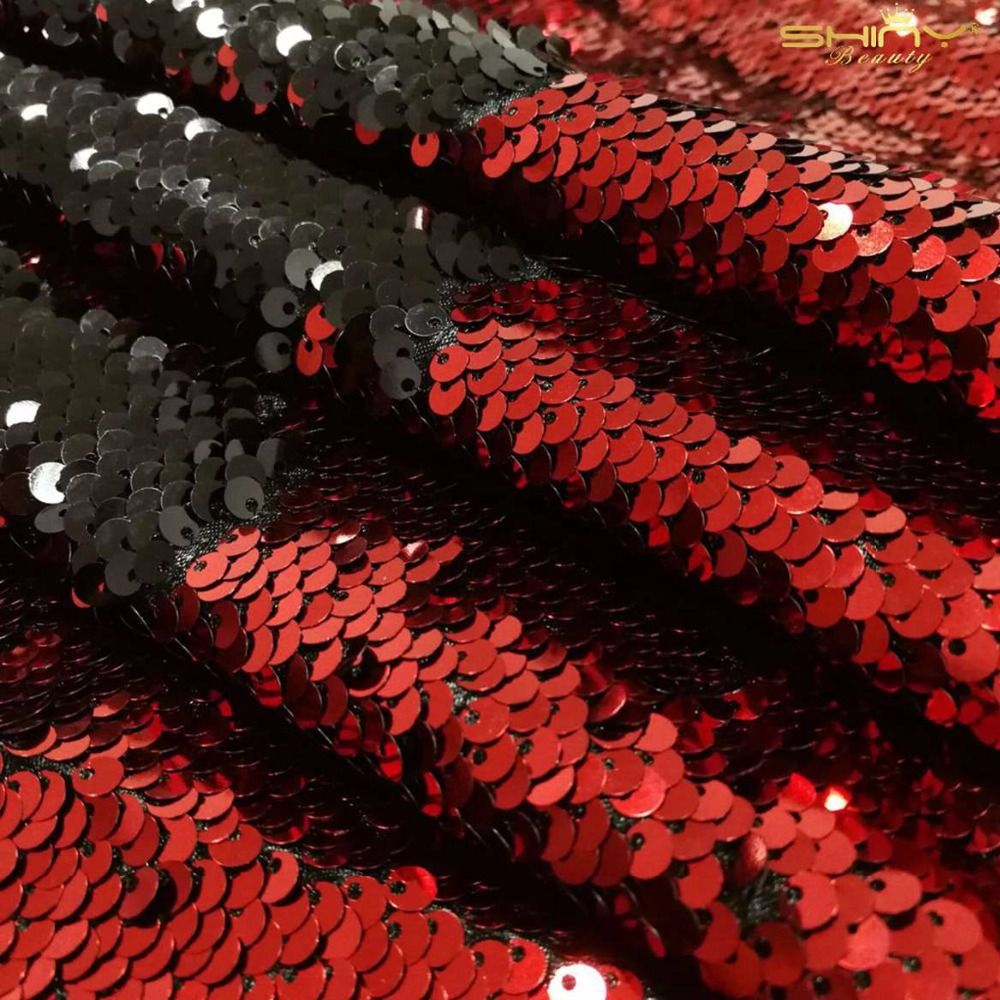 Shinybeauty Spécial Taille 215X230 CM Fuchsia & Argent Toile De Fond De Paillettes Rideau Réversible Sirène Poissons Échelle Glitz pour Decora-115C