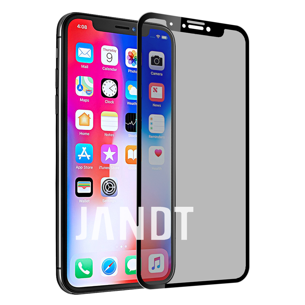 for iPhone X screen protector tempered glass 3D full cover anti peeping glare case friendly bubble free accessaries