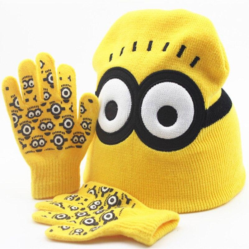 Baby cartoon little yellow man autumn and winter warm knit hat children's gloves set