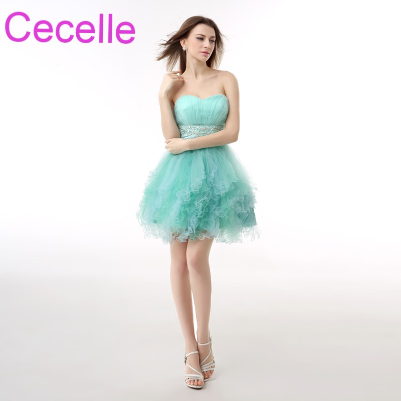 Mint Short Cocktail Dresses 2018 Simple Tulle Ruffles Sweetheart