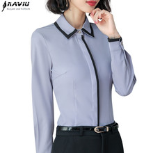 2018 roupas elegantes retalhos camisa feminina primavera formal manga longa fino chiffon blusa escritório senhoras trabalho wear plus size