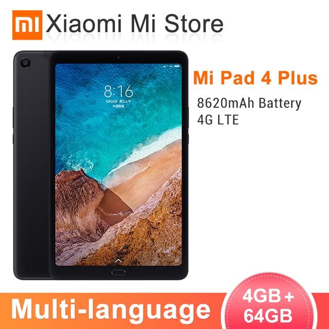 """Original Xiaomi Mi Pad 4 Plus PC Tablet 10.1"""" 8620mAh Snapdragon 660 Octa Core 1920x1200 13MP+5MP Cam 4G Tablets Android MiPad 4"""