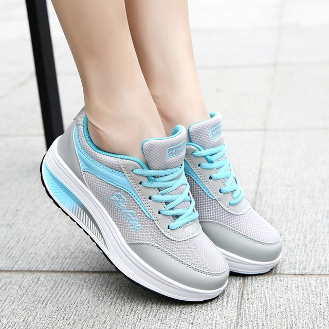 KANCOOLD Women Running Shoes Cushioning Height Platform Breathable cushioning soft bottom sneakers breathable mesh low Walking