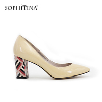 SOPHITINA NEW Colorful Heel Beige Black Patent Leather Pointed Toe 7 5cm High Heel Pumps Classics
