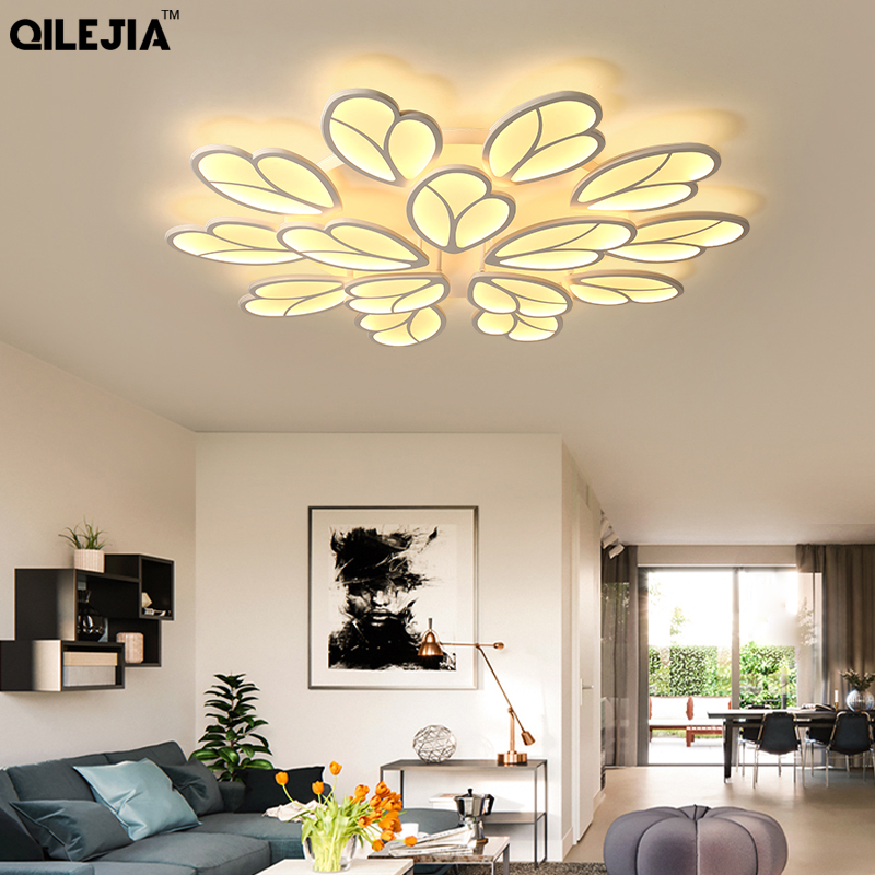 Modern Led Ceiling Chandelier For Living Room Bedroom Wedding Room White Coffee Color Acrylic Shade 85-265V Chandeliers FixturesModern Led Ceiling Chandelier For Living Room Bedroom Wedding Room White Coffee Color Acrylic Shade 85-265V Chandeliers Fixtures