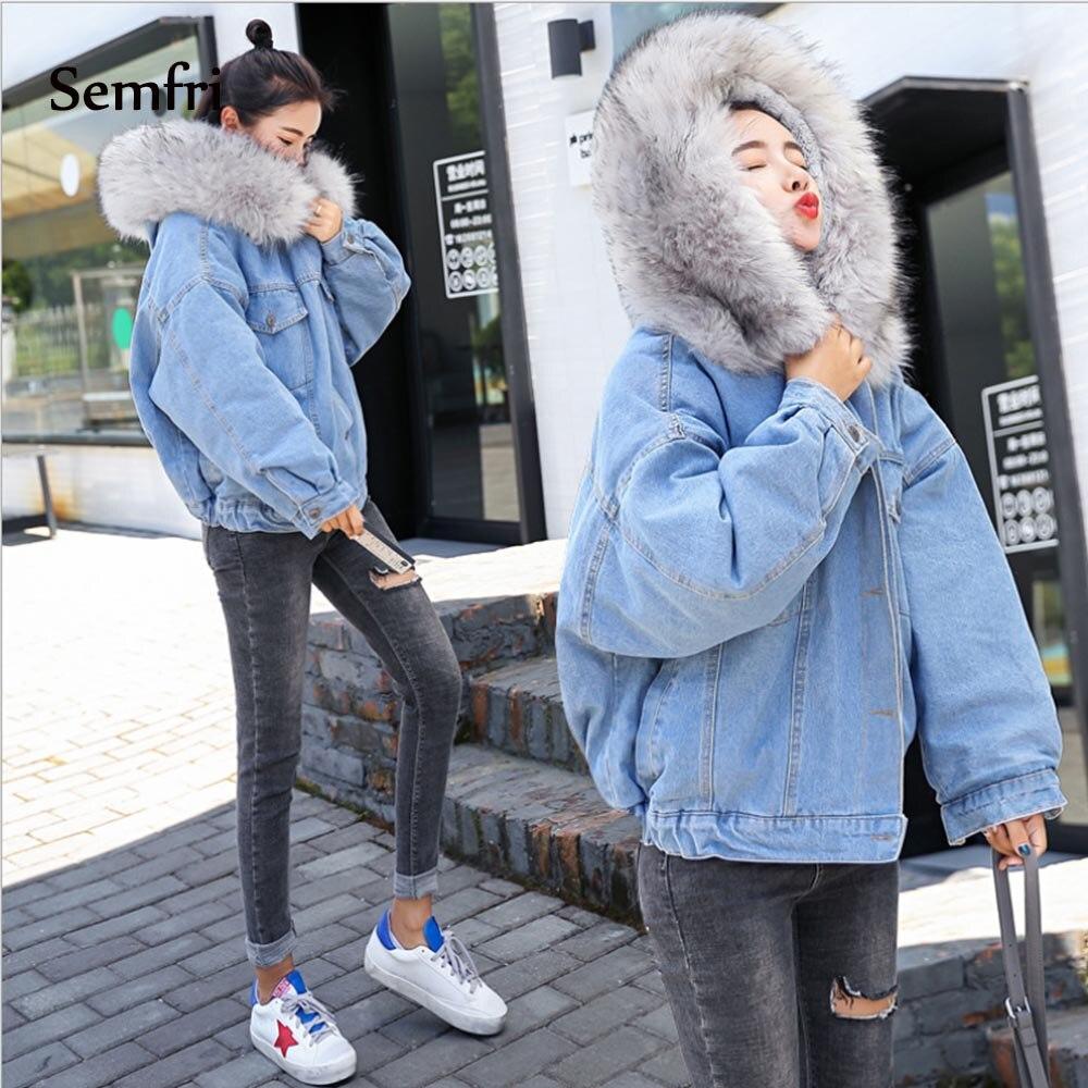Semfri Women 39 s Winter Thick Jean Jacket Faux Fur Collar Fleece Hooded Denim Coat Female Padded Warm Coats Outwear Dropshipping in Jackets from Women 39 s Clothing