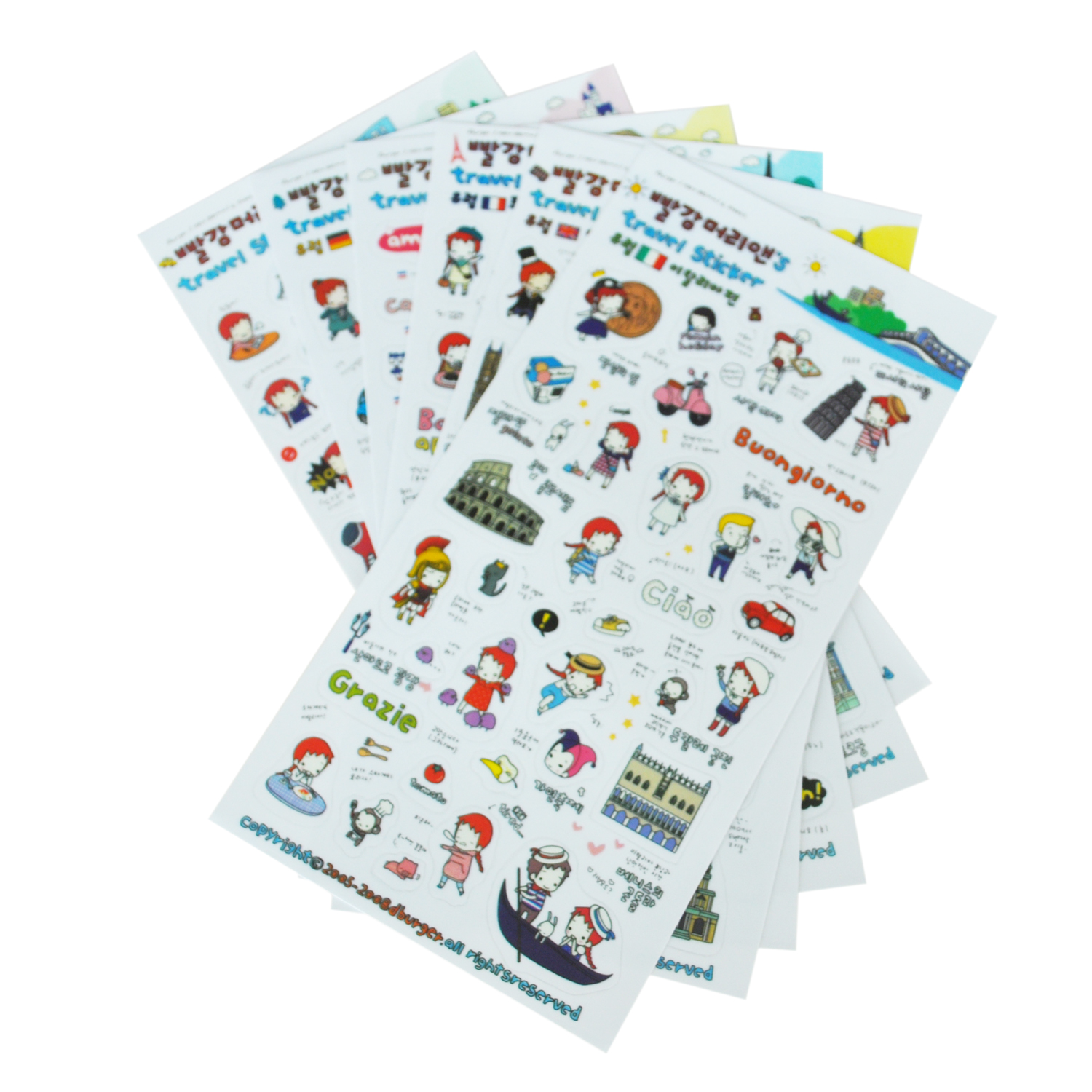 How to scrapbook travel - Sosw 6 Sheets Cute Red Hair Girl Travel Diary Scrapbook Decoration Photo Stickers China