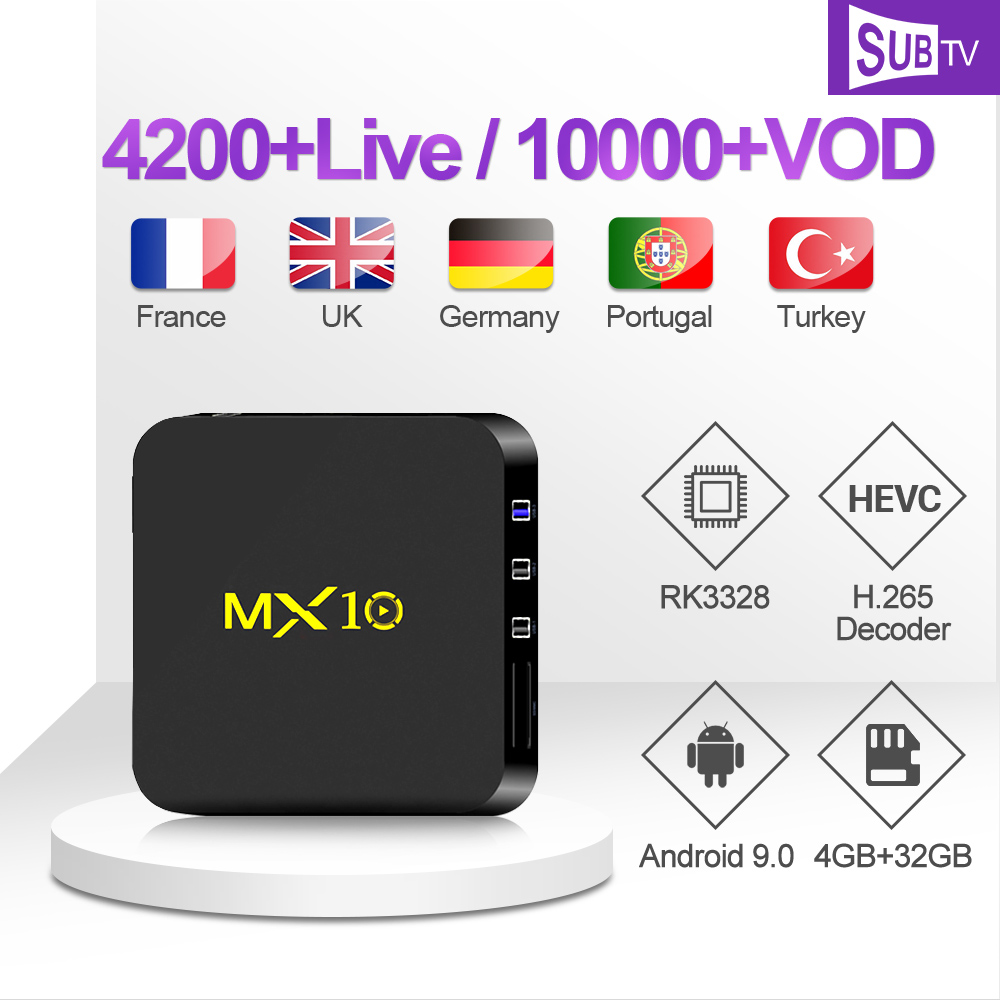 MX10 Polish Arabic IP TV 1 Year SUBTV Poetuguese Africa IPTV Subscription Set Top Box Canada France Turkish IPTV Italy Arabic-in Set-top Boxes from Consumer Electronics
