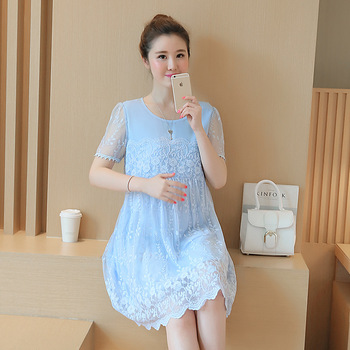 Maternity Clothes Spring Summer Maternity pregnancy Lace Dress Patchwork Plus Size Loose Dresses for Pregnant Women