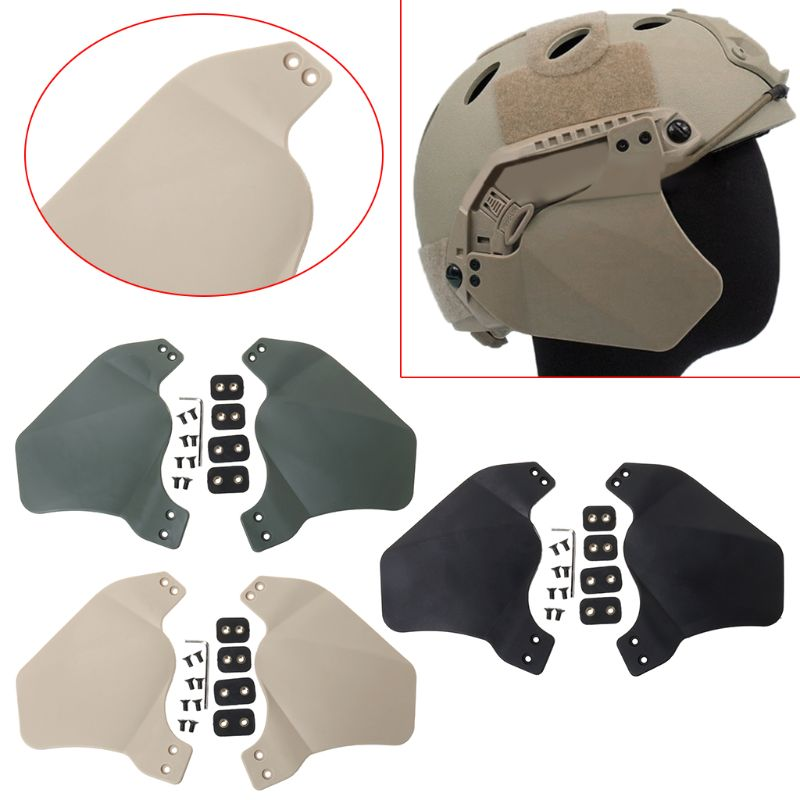 1 Pair Helmet Guard Tactical Tackle Outdoor Hunting Protective Safety Side Cover Airsoft Military Ears Head Protection Accessory